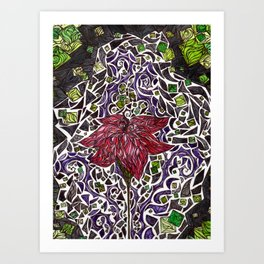 Stained Glass Flower Art Print