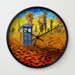 Tardis at Fall Grass field Art painting iPhone 4 4s 5 5c 6, pillow case, mugs and tshirt Wall Clock