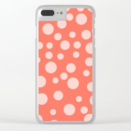 Living Coral Polka Dot Party Clear iPhone Case