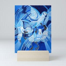 Muge's Pigeons in Blue  Mini Art Print