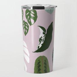 Leaves composition 2 pink background Travel Mug