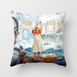 Little Girl Uses Capricorn As Clothesline Collage Ultra HD Throw Pillow