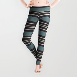 Blue-Green Beige Purple Horizontal Line Pattern 2021 Color of the Year Aegean Teal and Accent Shades Leggings