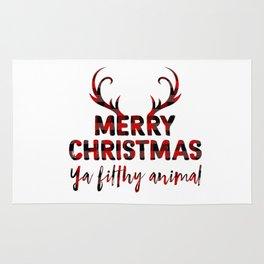 Merry Christmas ya filthy animal, plaid Rug