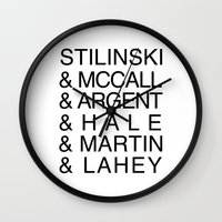 teen wolf Wall Clocks featuring Teen Wolf Last Names by Dan Lebrun