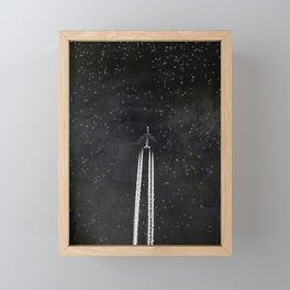 Star Flight - Airplane crossing a starry sky Framed Mini Art Print