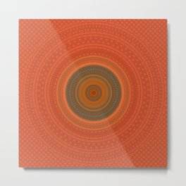 Vintage Orange Turquoise Pattern Mandala Metal Print