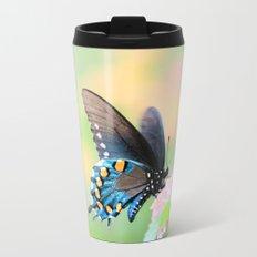 Spicebush Swallowtail Butterfly on Lantana Travel Mug