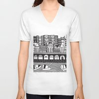 england V-neck T-shirts featuring Brighton, England by Caroline Rees