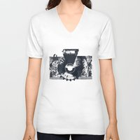 camera V-neck T-shirts featuring Camera by Lucas del Río