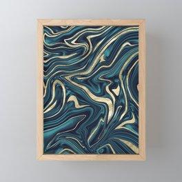 Teal Navy Blue Gold Marble #1 #decor #art #society6 Framed Mini Art Print