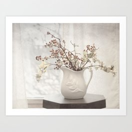 Berries in White Vase Art Print