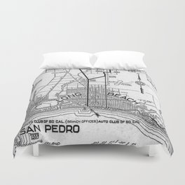 Vintage Los Angeles and San Pedro Road Map (1919) Duvet Cover