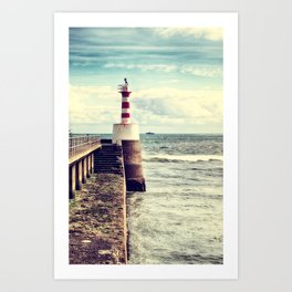 Amble Pier Lighthouse Art Print