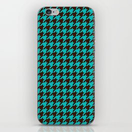 Turquoise Blue Brown Houndstooth Pattern iPhone Skin