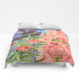 Cottage Garden Butterfly Bush Watercolor Illustration Comforters