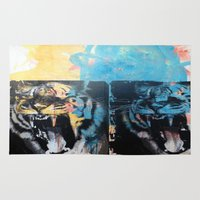 tigers Area & Throw Rugs featuring YAWNING TIGERS by Brandon Neher