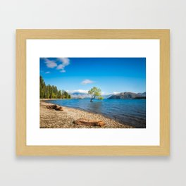 Clear blue morning at Lake Wanaka, New Zealand Framed Art Print