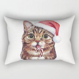 Christmas Cat in Santa Hat Whimsical Holiday Animals Rectangular Pillow
