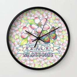 Peace Blossoms Retro Tattoo Wall Clock