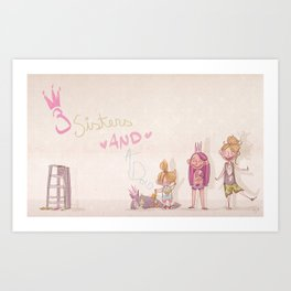 3 Sisters and a Dog! Art Print