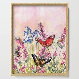 Wild meadow butterflies Serving Tray