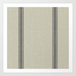 Vintage Country French Grainsack Grey Gray Stripes Linen Color Background Art Print