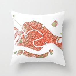 Venice city map classic Throw Pillow