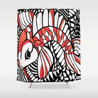 sassy Shower Curtains featuring Sassy Koi by Marcy Murakami