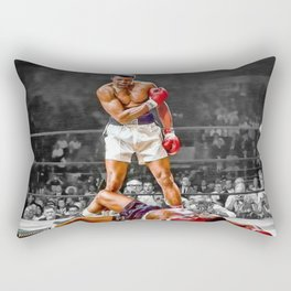 Mama Said I'm Gonna Knock You Out - Ali Knocks out Liston Boxing Portrait Painting oil on canvas Rectangular Pillow