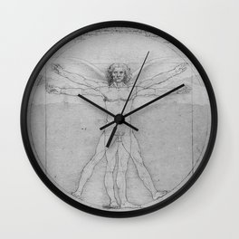 Leonardo da Vinci Vitruvian Man with Wings Study of Angels Wall Clock