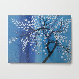 Cherry blossom with blue purple and white Metal Print