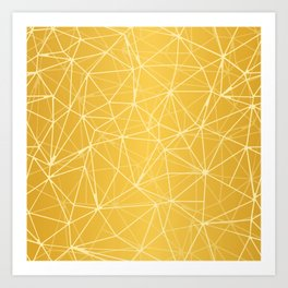 Mosaic Triangles Repeat Seamless Pattern gold Art Print
