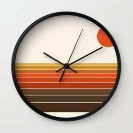 Peace Out - sunset ocean surfing beach life 70s style retro 1970s design Wall Clock