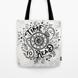 Time to Read - Black Tote Bag