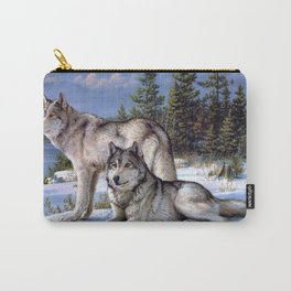 Two wolves in winter Siberian Carry-All Pouch