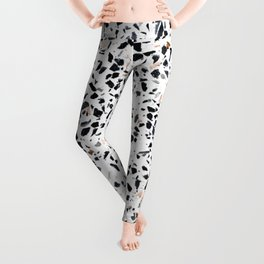 Terrazzo Stone Pattern Black and Orange Peach Leggings