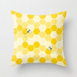 Honey Bee Pattern Throw Pillow