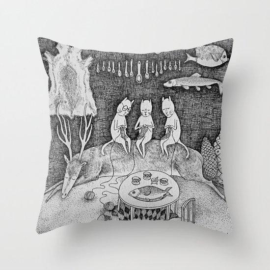 Knitting Cats Throw Pillow