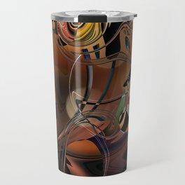 Deception copper gold brown Lines tangled design pattern Travel Mug