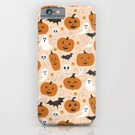 Pumpkin Party on Beige iPhone Case