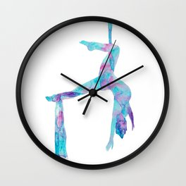 Aerial lady silky art silks yoga print watercolor painting aerialist gift drawing circus dance dancer silthouette woman gymnastics Wall Clock