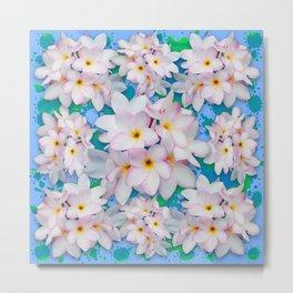 Plumeria Bouquet Exotic Summer Pattern Metal Print