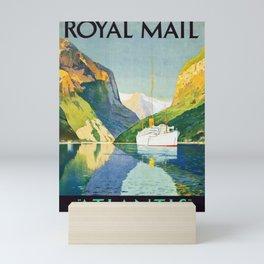 Vintage Royal Mail travel Poster -  Norwegian Fjords Mini Art Print