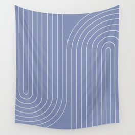 Minimal Line Curvature - Blue Wall Tapestry
