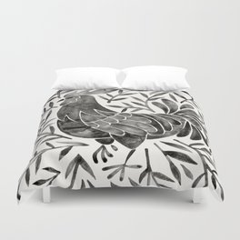Le Coq – Watercolor Rooster with Black Leaves Duvet Cover