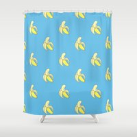 minions Shower Curtains featuring Banana print by Raccoon Illustrations