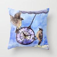 clock Throw Pillows featuring Clock by Anna Shell