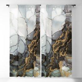 Black Gold Marble Storm Blackout Curtain