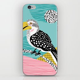 What - memphis tropical retro neon throwback 1980s 80s style hipster abstract bird vacation nature iPhone Skin